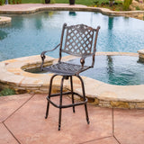 Traditional Outdoor Shiny Copper Cast Aluminum Swivel Barstool with Arms - NH587832