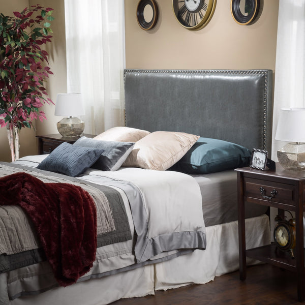 Gibbs Full to Queen Size Grey Leather Headboard