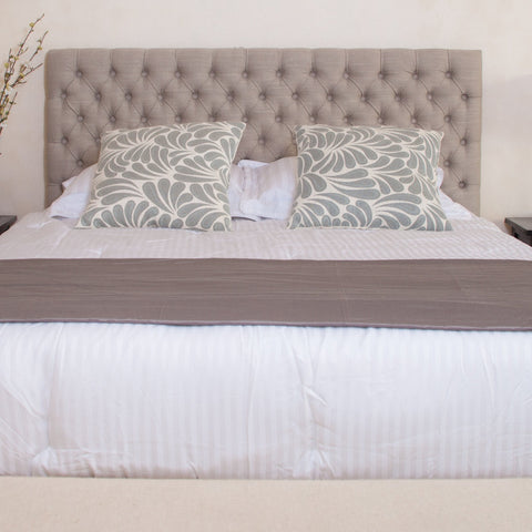 Contemporary Button Tufted Light Beige Fabric Queen/Full Headboard - NH378832
