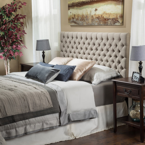 Joyce Queen/Full Sandy Beige Fabric Headboard - NH888832