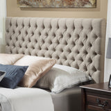 Joyce Queen/Full Sandy Beige Fabric Headboard