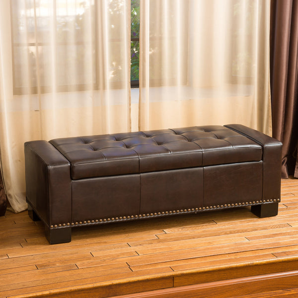 Tufted Brown Leather Rectangle Storage Ottoman Bench - NH191932