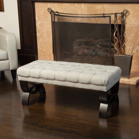 Contemporary Button Tufted Fabric Ottoman Bench - NH103932