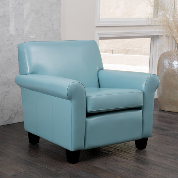 Contemporary Teal Blue Leather Club Chair with Scrolled Arms - NH716852