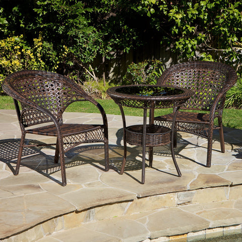 Brown 3pc Wicker Bistro Set - NH567872