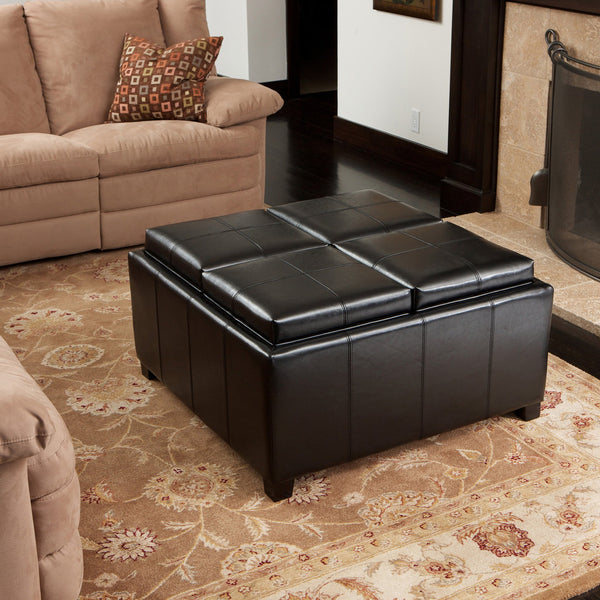 Leather 4-Tray-Top Storage Ottoman Coffee Table - NHKLB078182