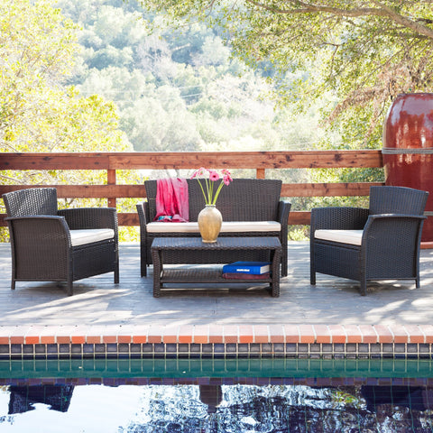 Outdoor 4pc Brown Wicker Sofa Set - NH109492