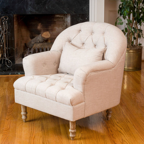 Button Tufted Fabric Armchair - NH300592
