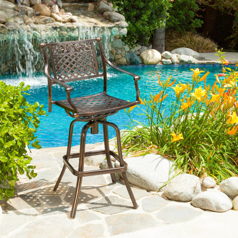 30-Inch Outdoor Cast Aluminum Swivel Bar Stool - NH250592