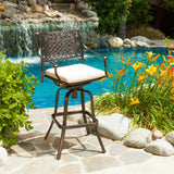 30-Inch Outdoor Cast Aluminum Swivel Bar Stool w/ Cushion - NH050592