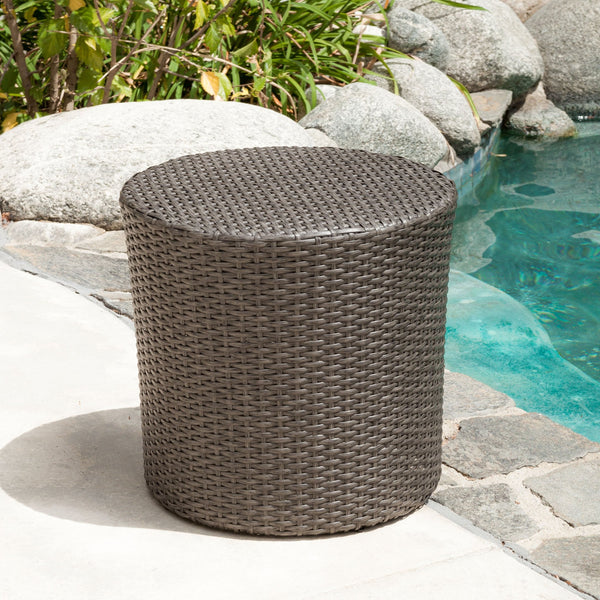 Outdoor Dark Grey Wicker Barrel Side Table - NH160593