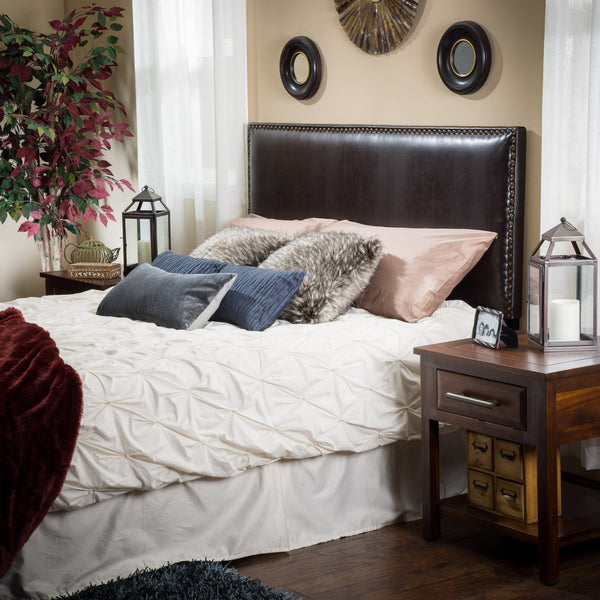 King-to-Cal King Adjustable Brown Leather Headboard - NH203592