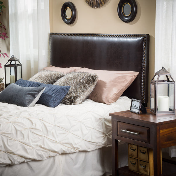 Queen to Full Sized Brown Leather Headboard - NH990592