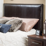 Valentine Queen to Full Sized Brown Leather Headboard
