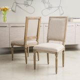 Weathered Dark Coffee Stripe Dining Chairs (Set of 2) - NH641592