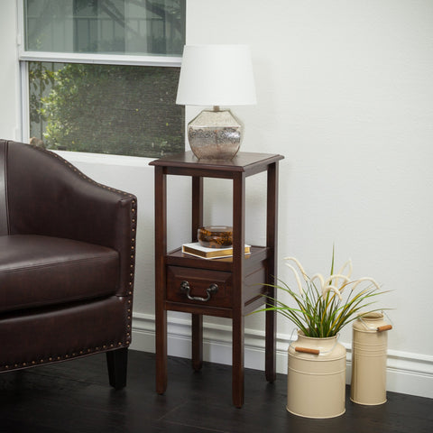 Brown Mahogany Acacia Wood Accent Table w/ Bottom Drawer - NH052592
