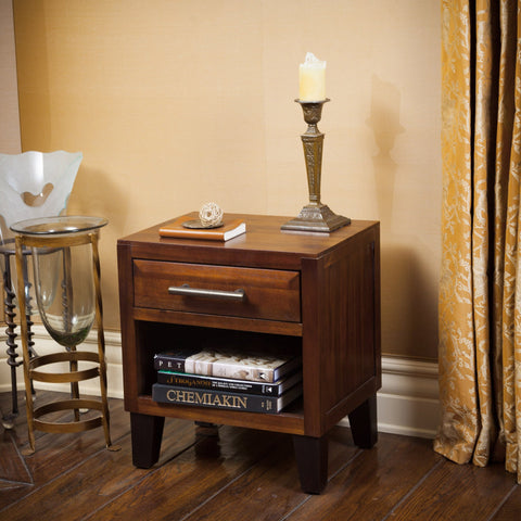 Brown Mahogany Solid Wood Single Drawer End Table Nightstand - NH392592