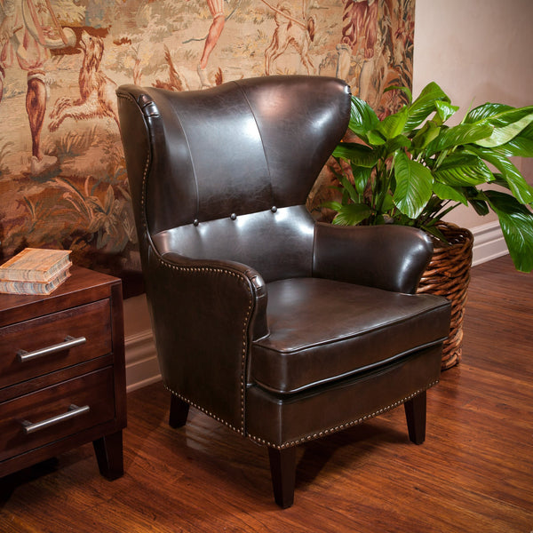 Leather High Back Wingback Armchair - NH803592