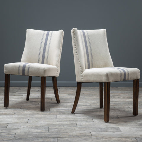 Blue Stripe Fabric Dining Chairs (Set of 2) - NH023592
