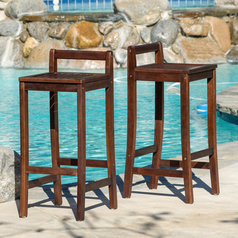 30-Inch  Mahogany Stained Wood Bar Stools (Set of 2) - NH053592