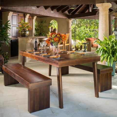 3pc Mahogany Stained Wood Table and Bench Dining Set - NH463592