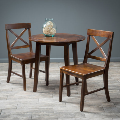 3pc Mahogany Stained Wood Round Table Dining Set - NH283592