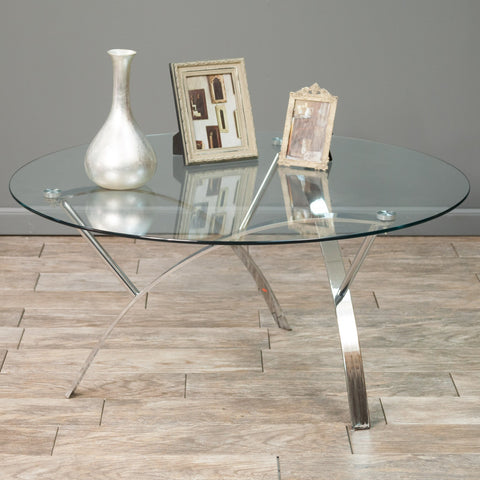 Tempered Glass Round Accent Coffee Table w/ Chrome Legs - NH004592