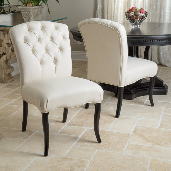 Linen Colored Fabric Dining Chairs (Set of 2) - NH514592
