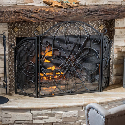 Black Silver Finish Floral Iron Fireplace Screen - NH644592