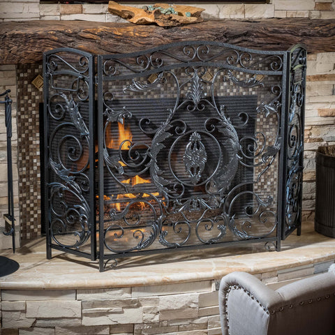Black Silver Finish Floral Iron Fireplace Screen - NH744592