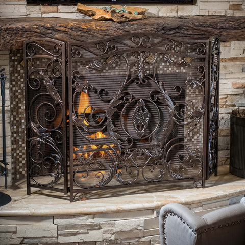 Black Gold Finish Floral Iron Fireplace Screen - NH844592
