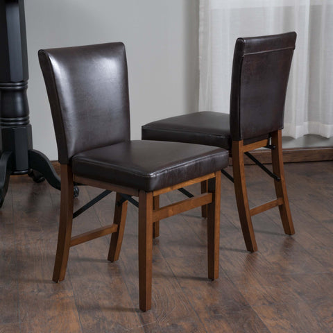 Brown Leather Folding Dining Chairs (Set of 2) - NH405592