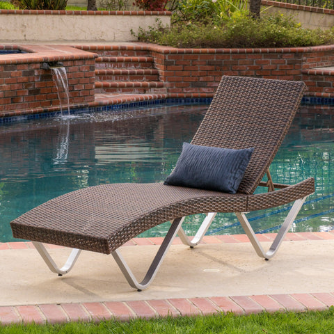Outdoor Brown Wicker Aluminum Chaise Lounge Chair - NH835592