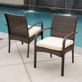 Outdoor Multibrown PE Wicker Dining Chairs (Set of 2) - NH066592