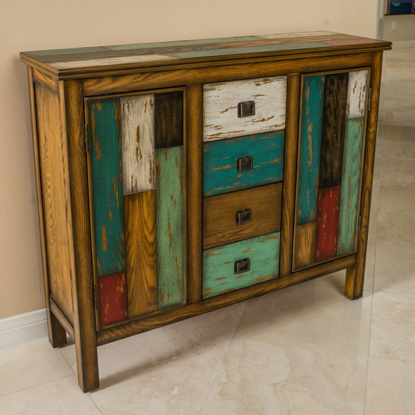 Antique Multicolor Distressed Wood Storage Cabinet - NH586592