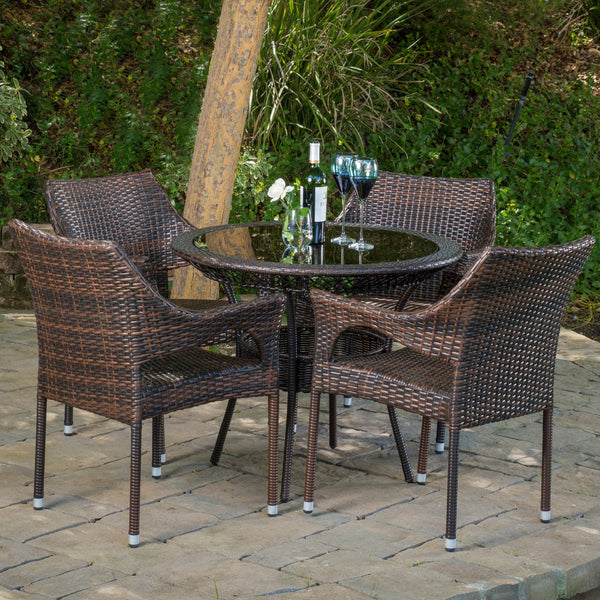 Outdoor Multibrown Wicker  5pc Dining Set - NH986592