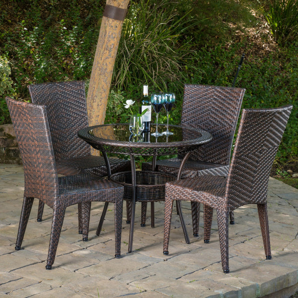 Outdoor Multibrown Wicker 5pc Dining Set - NH196592