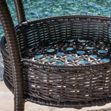 Outdoor 3-Piece Multi-Brown Wicker Bistro Set with Tempered Glass Top - NH596592