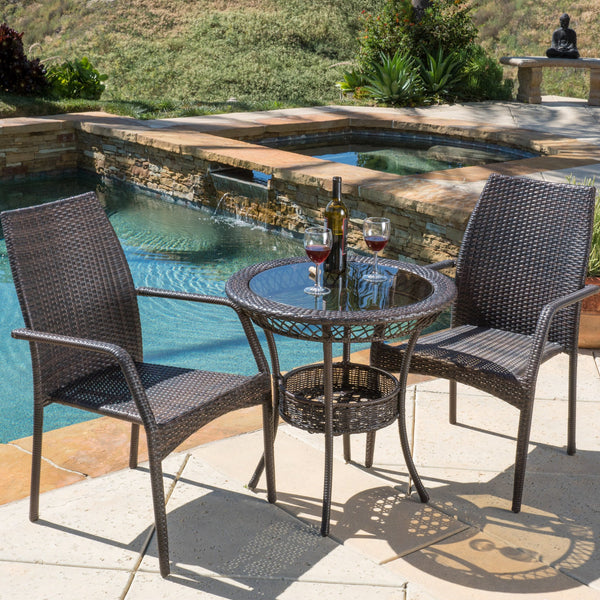 Outdoor 3-Piece Multi-Brown Wicker Bistro Set with Tempered Glass Top - NH796592