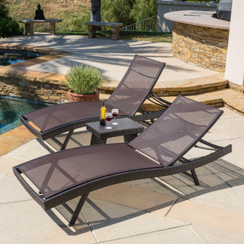 Outdoor 3pc Brown Mesh Chaise Lounge Chairs Set - NH307592