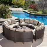 Outdoor 8 Seater Round Wicker Sectional Sofa Set with Coffee Tables - NH257592