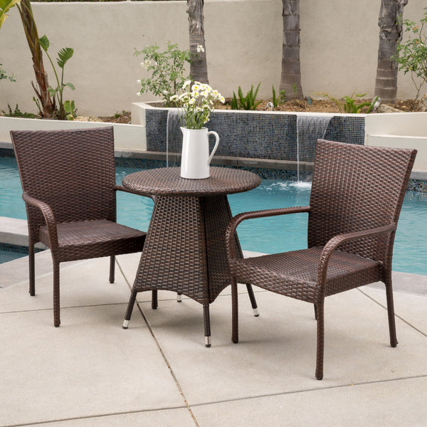 Outdoor 3pc Multibrown Wicker Bistro Set - NH718592