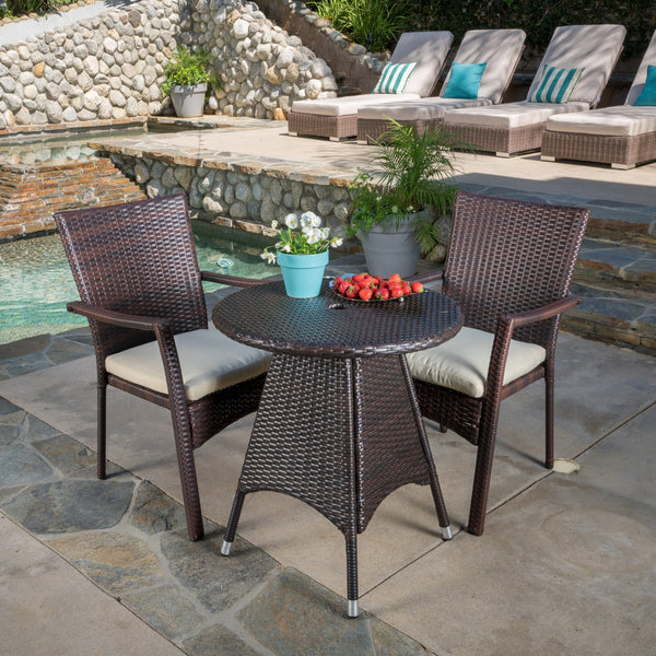 Outdoor 3-piece Wicker Bistro Set with Cushions - NH818592