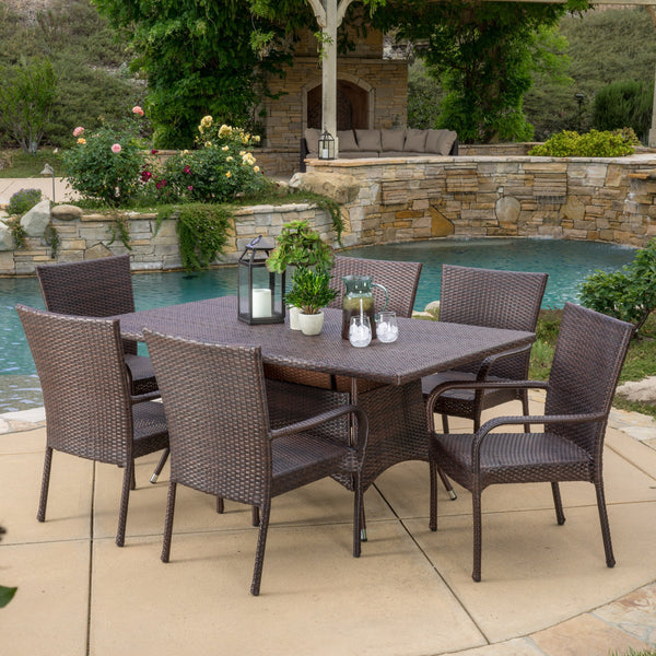Outdoor 7-Piece Multi-Brown Wicker Dining Set with Umbrella Hole - NH228592