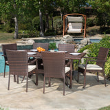Outdoor 7-piece Wicker Dining Set with Cushions - NH328592