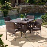 Outdoor 5pc Multibrown Wicker Square Dining Set - NH038592