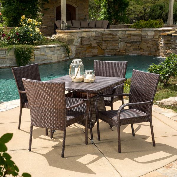Outdoor 5pc Multibrown Wicker Square Dining Set - NH238592