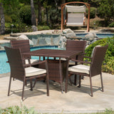Outdoor 5-piece Wicker Dining Set with Cushions - NH338592