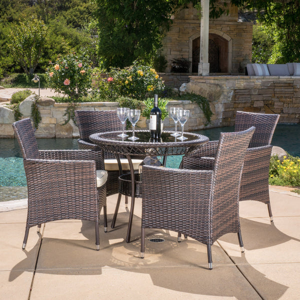 Outdoor Multibrown Wicker 5pc Dining Set - NH958592