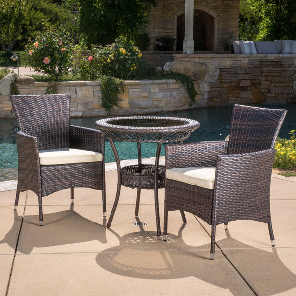 Outdoor Multibrown Wicker 3pc Bistro Set - NH068592